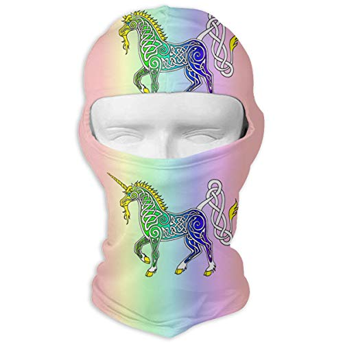 MKDOQS Unicorns Against A Rainbow Background Full Face Mask Sun Dust Wind Protection Durable Breathable Seamless Face Mask Bandana