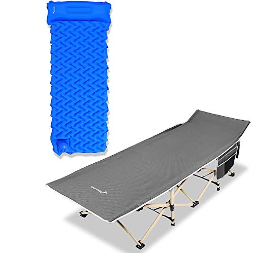 Sportneer Gray Camping Folding Cot and Blue Sleeping Pad for Camping, Beach, BBQ, Hiking, Backpacking, Office