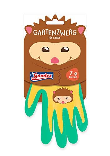 Spontex Gartenzwerg Handschuhe, Gartenhandschuhe für Kinder, ideal für das Spielen und Arbeiten im Garten, mit Nitrilbeschichtung, Igelmotiv, 1 Paar, 7-8 Jahre
