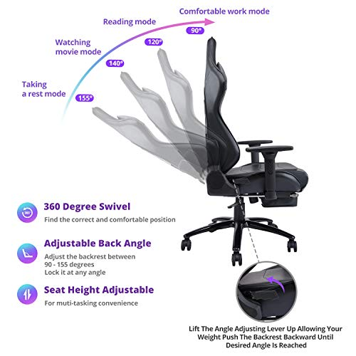 Killabee Big and Tall Massage Gaming Chair