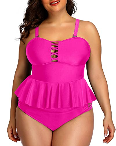 Yonique Plus Size Swimsuits for Women Peplum Tankini Tops High Waisted Tummy Control Two Piece Bathing Suits Hot Pink 12plus