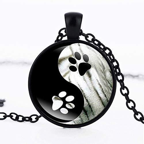 TUDUDU Moda Yin Y Yang Perro Pata Glow Collar Hecho A Mano Redondo Vidrio Diseño Collar Luminoso...