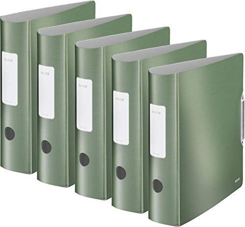 Leitz 11080053 Multifunktions-Ordner (A4, Runder Rücken 8,2 cm Breite, Gummibandverschluss, Gebürstete Alu-Optik, Kunststoff, Ergonomische Form, Active Style) seladon grün (5er Set | breit)