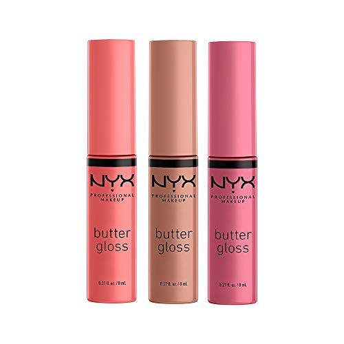 NYX PROFESSIONAL MAKEUP Butter Gloss - Pack Of 3 Lip Gloss (Angel Food Cake, Creme Brulee, Madeleine)