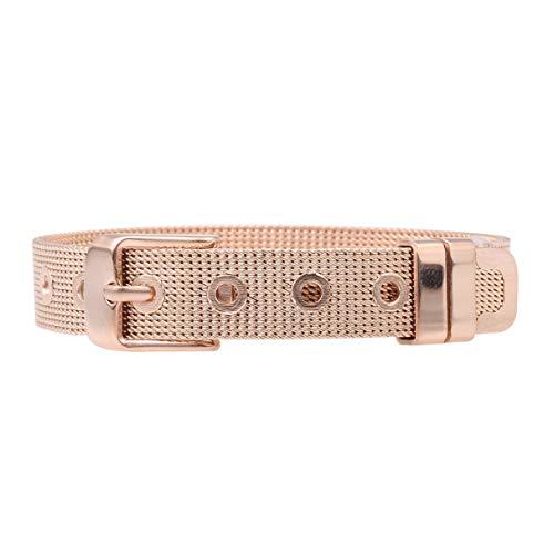 LUXERY Charms Armband in Edelstahl, Anhänger für Individuelle Charm bettel-Armband austauschbar für Damen selber gestalten Mesh Silber Schmuck Frauen