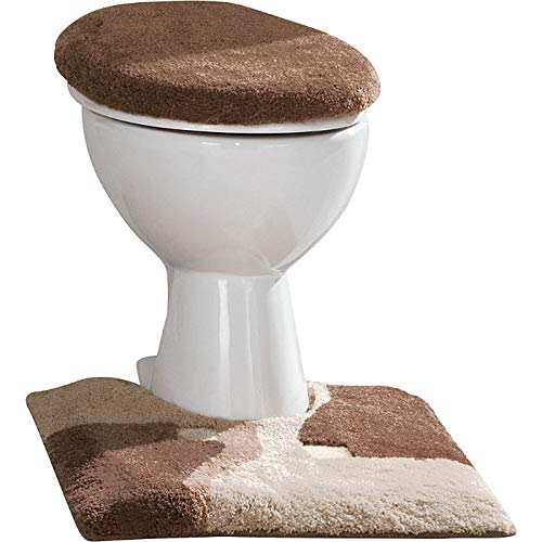 Erwin Müller WC-Umrandung rutschhemmend braun Größe 50x50 cm - kuscheliger Hochflor, für Fußbodenheizung geeignet