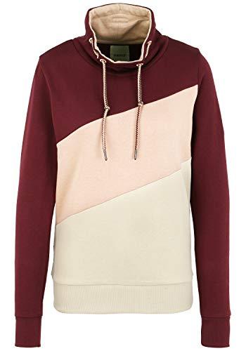 OXMO Agda Damen Sweatshirt Pullover Sweater mit Tube-Kragen, Größe:S, Farbe:Wine Red (191526)