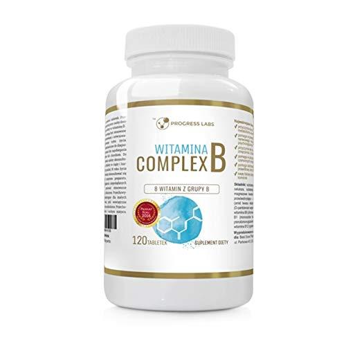 Progress Labs Vitamin B Complex Paquete de 1 x 120 Tabletas - Vitamina B12 y B6 con Biotina Niacina Ácido Fólico Riboflavina y Tiamina - Complejo