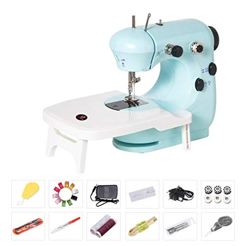 Bruvoalon Electric Sewing Machine, Portable Household Lightweight Sewing Machine for Beginner, Double Thread, Free Arm, Night Light, Foot Pedal, Adjustable 2-Speed for Tailors/Arts/Crafting (Blue)