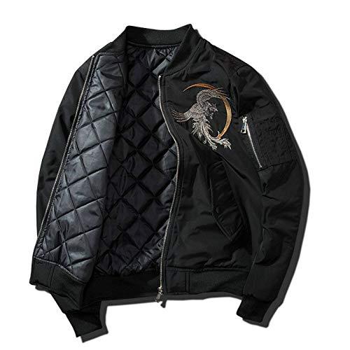 ZHAOXIANGXIANG Men Jacket,Bomber Jacket Men Hip Hop Embroidery Phoenix Flight Jackets Mens Autumn Winter Thick Warm Retro Baseball Jacket Harajuku Streetwear,Xl
