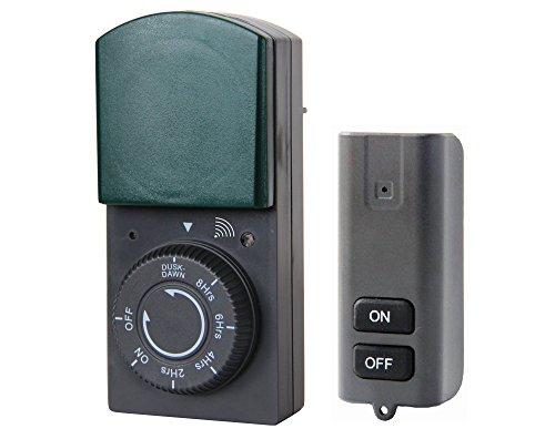 Electraline 58110 Timer Zeitschaltuhr für Außen IP44 Countdown-Funktion mit Sensor und Fernbedienung, Schwarz/Grün