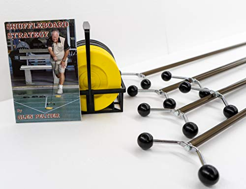 """Allen R. Shuffleboard Family Shuffleboard Set with 6 cues (4-Adult 75"""" & 2-Kid 48"""") + Set of ARCO Tournament Discs with Carrier + Shuffleboard Strategy Book"""
