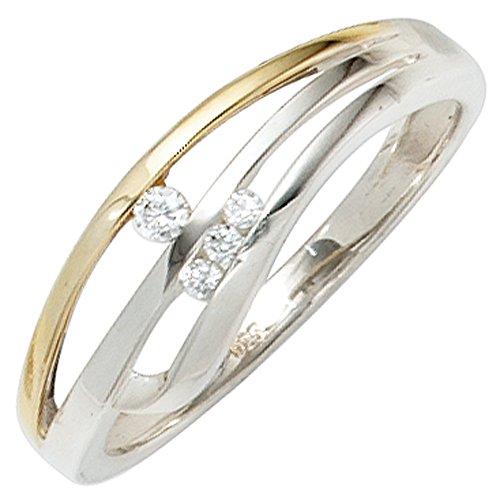 JOBO Damen-Ring aus 925 Silber Bicolor vergoldet mit Zirkonia Größe 60