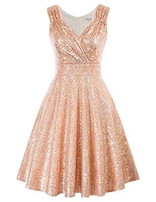 GRACE KARIN Women Sleeveless Sequin Bridesmaid Dress A-Line Swing Dress Size S CL061-9