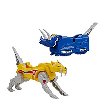 Power Rangers Mighty Morphin Triceratops Dinozord and Sabertooth Tiger Dinozord Toy 2-Pack Action Figures Part of Dino Megazord for Kids Ages 4 and Up