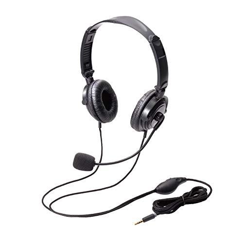 『エレコム ヘッドセット マイク 4極 両耳 オーバーヘッド 耐久コード 折り畳み式 1.8m HS-HP20TBK』のトップ画像