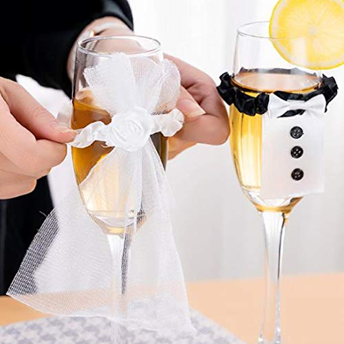 LWANFEI Romantisches Weinglas Dekor, Braut Bräutigam Kostüm Cup Cover Hochzeit Tischdekoration
