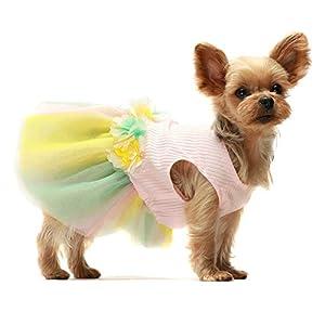 Fitwarm Flower Dog Tutu Dress Puppy Dress Birthday Party Tulle Doggie Pet Cat Apparel Small