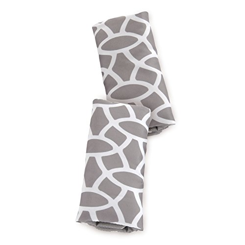 Goldbug Reversible Strap Covers for Carseats, Strollers, Swings Giraffe- Grey, White