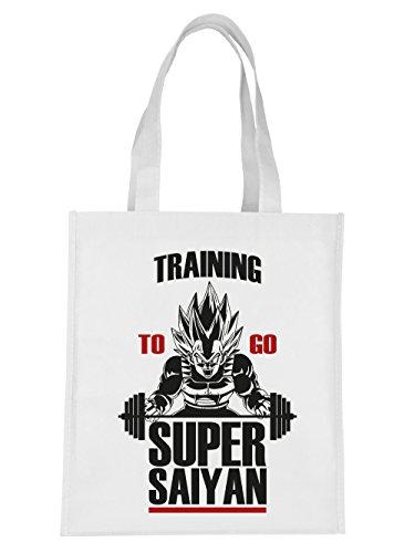 clothinx Einkaufstasche Training to go Super Saiyan Weiß
