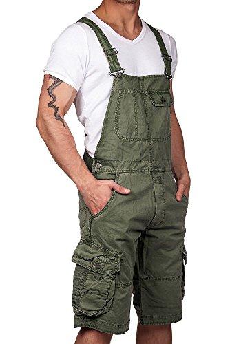 Jet Lag Herren Latzhose Overall Shorts olive XXL