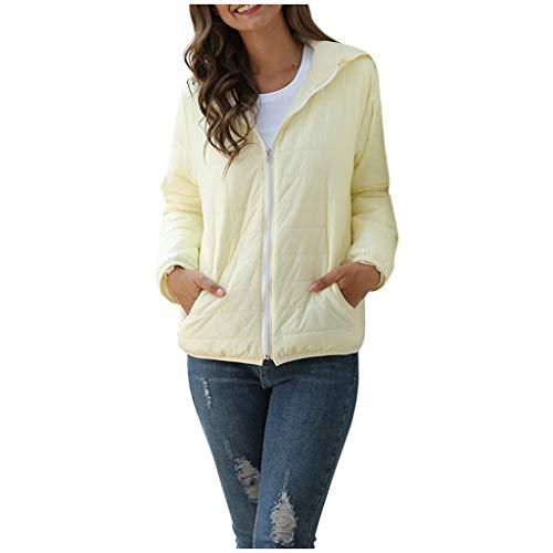 GOKOMO Damen Langarm Tasche Hoodie Jacke einfarbig reißverschluss Mantel Winter warm(Beige-2,XX-Small)