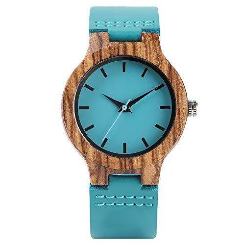 FMXKSW Holzuhr, Damen Quarz Holzuhren Blau Echtes Leder Modern Minimalist Holzbambus Damenuhr Lässige Uhr Geschenke
