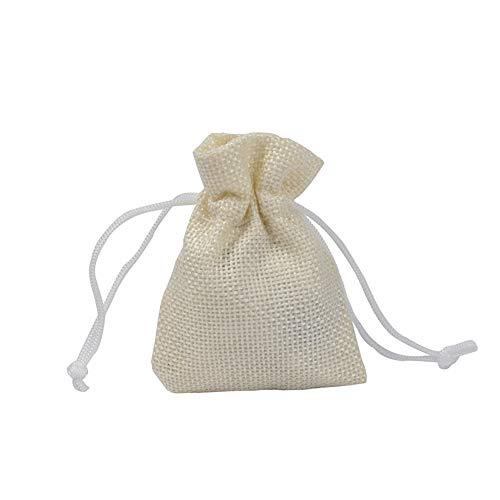 CZSM 50 Schnür Jutesäcken, Schmuck Bevorzugungen Taschen für Hochzeit Weihnachten, 17X23cm,Offwhite