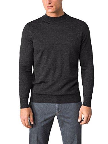 Walbusch Herren Merino Mix Stehbund Pullover einfarbig Anthrazit 52