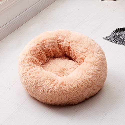 AMURAO Weichem Plüsch Hundebett Runde Form Schlafen Zwinger Katze Welpen Sofa Pet House Winter Komfort Warme Kissen