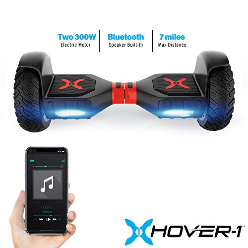 Hover-1 Charger Hoverboard Electric Scooter 10 inch Wheels Bluetooth Speaker and LED Lights, Black, 30 x 13 x 11 (H1-COL-BLK) Indiana
