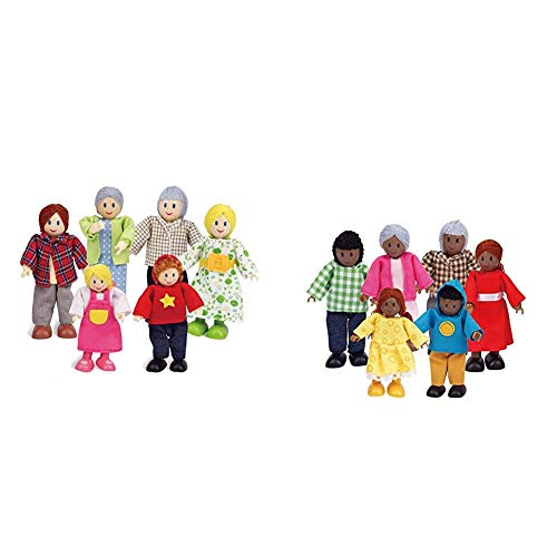 Happy Family Dollhouse Set by Hape |Award Winning Doll Family Set, Unique Accessory for Kid's Wooden Dolls House, Imaginative Play Toy & African American Wooden Doll House Family