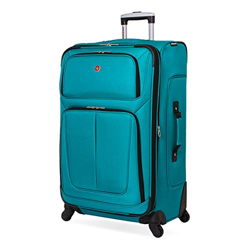 SwissGear Sion Softside Luggage with Spinner Wheels, Teal, Checked-Large 29-Inch