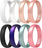 ThunderFit Women Breathable Air Grooves Silicone Wedding Ring Wedding Bands Anniversary Rings 4mm - 8 Rings Combination B (6.5 - 7 (17.3mm))