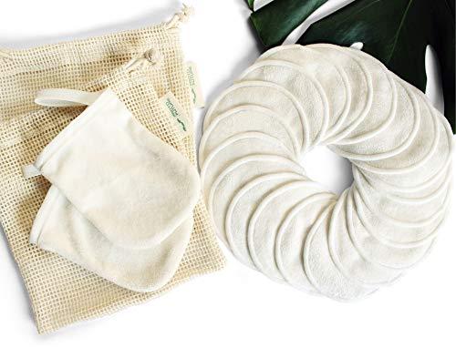 20 Discos Desmaquillantes Reutilizables de Bambú Orgánico – Almohadillas...