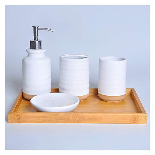 Agal Juego De Baño De 4/5/6 Piezas Conjunto De Accesorios De Baño De Cerámica Blanca Conjunto con Bandeja De Bambú,Dispensador De Jabón (Color : 4-Piece with Bamboo Tray)