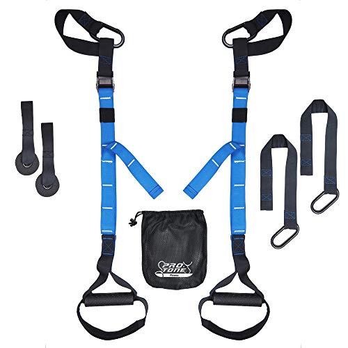 PROTONE Sospensioni Fascia Training System - Peso Corporeo Forza e Fitness da Ginnastica - Palestra Casa - Fitness (Blu) - Blu