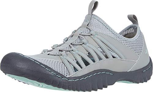 JBU by Jambu Women's JBU Evergreen Sneaker, Light Grey/Aqua, 8 Medium US