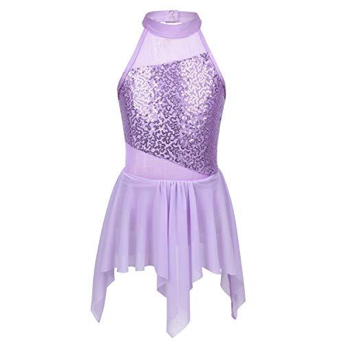 JEATHA Kids Girls Sleeveless Asymmetrical Hem Ballroom Dancing Dress Sequins Mock Neck Contemporary Modern Dance Costume Lavender 8