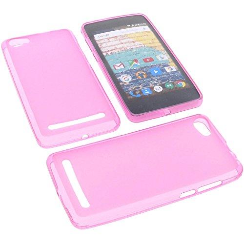 foto-kontor Tasche für Archos 45b Neon Gummi TPU Schutz Handytasche pink