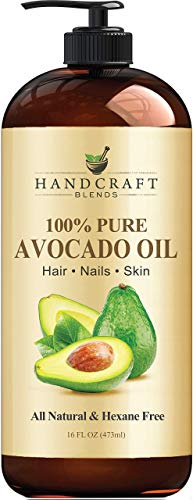 Handcraft Pure Avocado Oil - 100% Pure and Natural - Premium Quality Cold Pressed Carrier Oil for Aromatherapy, Massage and Moisturizing Skin - Hexane Free - 16 fl. oz - Packaging May Vary