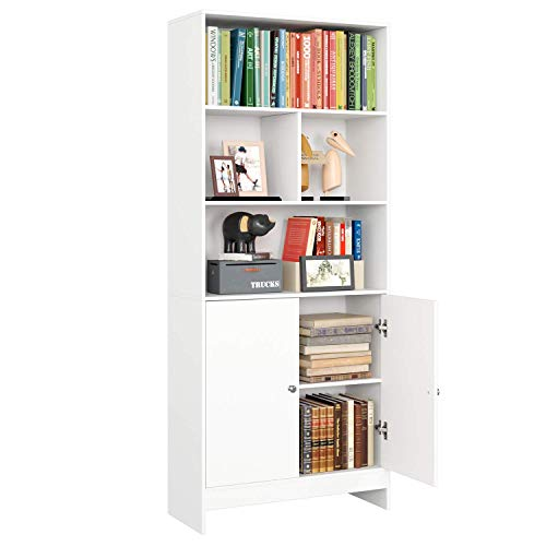 Estantería Librería Libros Mueble Aparador Vitrina Salón Armario Almacenaje para Dormitorio Estudio Oficina con 2 Puertas 4 Compartimentos Blanca 70x29.5x167cm