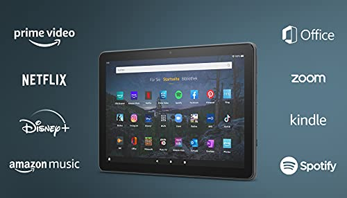 Produktbild von Wir stellen vor: das Fire HD 10 Plus-Tablet | 25,6 cm (10,1 Zoll) großes Full-HD-Display (1080p), 32 GB, schiefergrau – mit Werbung