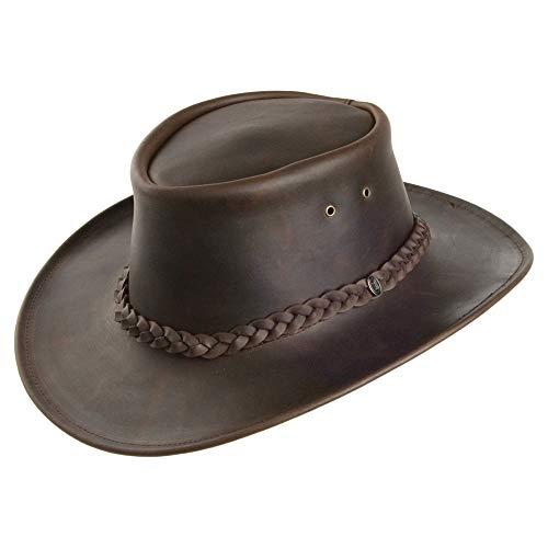Jaxon & James Chapeau Australien Déformable en Cuir Marron Medium