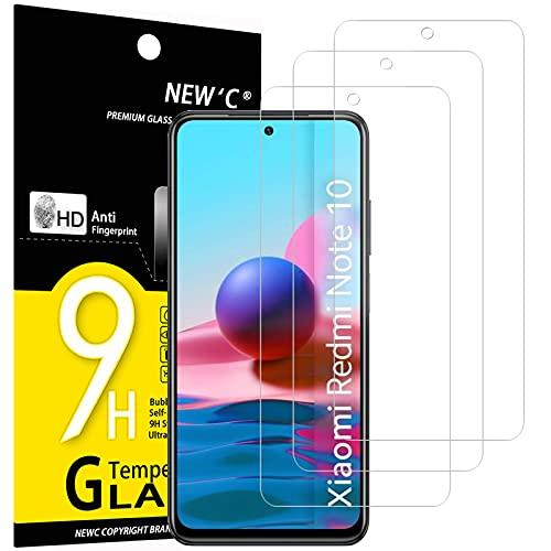 NEW'C 3 Pezzi, Vetro Temperato per Xiaomi Redmi Note 10, Note 10S, Note 10 5G Pellicola Prottetiva Anti Graffio, Anti-Impronte, Senza Bolle, Durezza 9H, 0,33mm Ultra Trasparente, Ultra Resistente