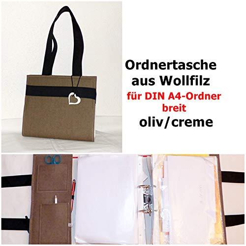 WOLLFilz Ordnertasche mit Ziernaht oliv-creme, mit 1 Ordner DIN A4 breit