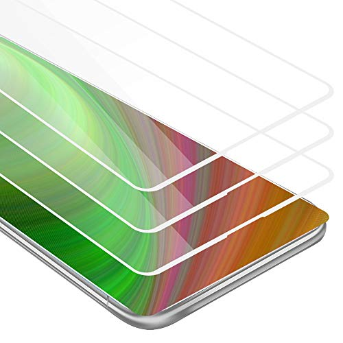 Cadorabo 3X Película Protectora para Xiaomi Mi Mix 2 en Transparente con Blanco - Paquete de 3 Pantalla de Vidrio Templado Cobertura Completa (Tempered) Compatible 3D con Dureza 9H