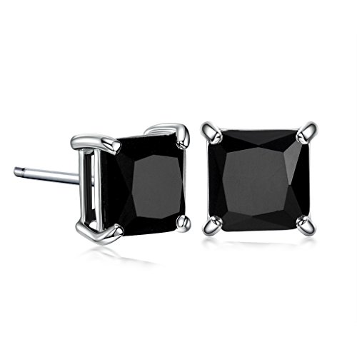GULICX 7mm Black Stone Diamante CZ Square Studs Pierced White Gold Electroplated Earrings Men Women