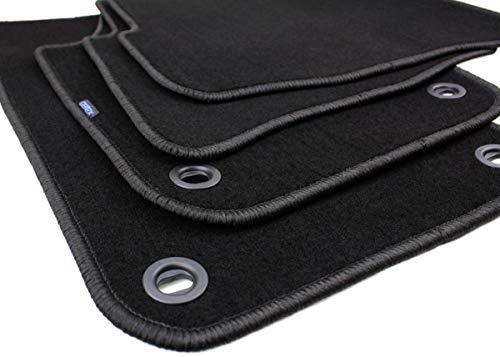 kfzpremiumteile24 Fußmatten / Velours Automatten Premium Qualität Stoffmatten 4-teilig schwarz oval Drehknebel