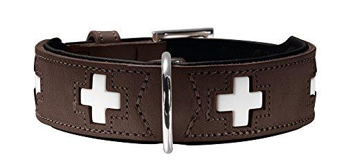 HUNTER SWISS Hundehalsband, Leder, hochwertig, schweizer Kreuz, 47 (S-M), braun/schwarz
